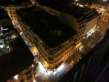MALAGA CENTER AT NIGHT royalty free stock images