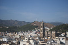 Malaga city and cathedral Stock Photos