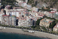 Malaga city downtown beach seen from the air. Royalty Free Stock Photo