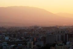 Malaga city at dusk. Royalty Free Stock Image