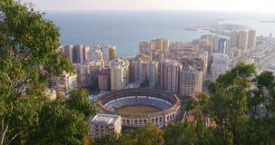 Malaga city famous bullring coast view sunny day 4k stock video footage