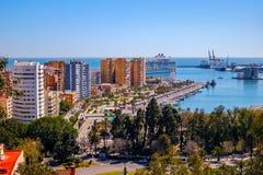 Malaga city harbor, Cruise ship Symphony of the seas. Malaga, Spain - March 27, 2018. Luxury cruise ship Symphony of the seas, Royal Caribbean, anchored in the Royalty Free Stock Photos