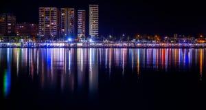 Malaga city harbor at night. Spain Royalty Free Stock Images