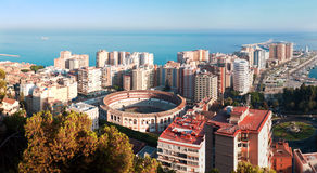 Malaga city with Malaqueta bullring. Spain Stock Photo