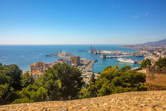 Malaga city panoramic view, Andalusia, Spain Royalty Free Stock Images