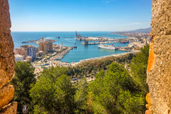 Malaga city panoramic view, Andalusia, Spain Stock Images