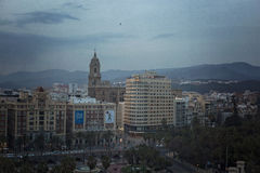 Malaga city view at night Stock Photo