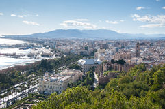 Malaga cityscape and harbour Royalty Free Stock Image