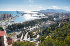 Malaga cityscape and harbour Royalty Free Stock Images