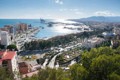 Malaga cityscape and harbour Stock Photography
