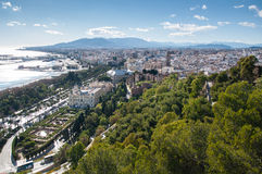 Malaga cityscape and harbour Royalty Free Stock Photo