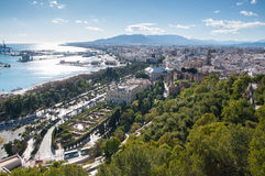 Malaga cityscape and harbour Stock Images