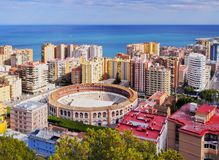 Malaga Cityscape, Spain. Aerial View of La Malagueta district and the Bullring in Malaga, Andalusia, Spain Royalty Free Stock Photos