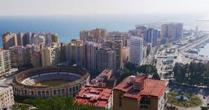 Malaga day light bullring city view 4k stock video footage