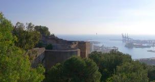 Malaga day light city gibralfaro castle port view 4k stock video