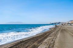 Malaga, de kustlijn van Spanje, strand en oceaan stock foto's