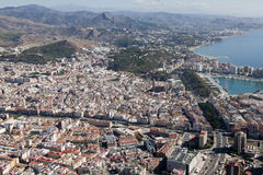 Malaga downtown seen from the air. Stock Images