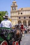 MALAGA, ESPAGNE - AOÛT, 14 : Cavaliers et chariots à Malaga Photo stock