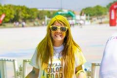 MALAGA, ESPAGNE - 4 JUIN 2017 : Les personnes non identifiées appréciant l'Unicaja colorent la route le 4 juin 2017 à Malaga, Esp Photos libres de droits
