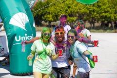 MALAGA, ESPAGNE - 4 JUIN 2017 : Les personnes non identifiées appréciant l'Unicaja colorent la route le 4 juin 2017 à Malaga, Esp Images stock