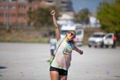MALAGA, ESPAGNE - 4 JUIN 2017 : Les personnes non identifiées appréciant l'Unicaja colorent la route le 4 juin 2017 à Malaga, Esp Image libre de droits