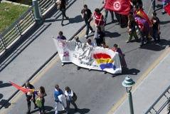 Malaga (Espagne), le 14 avril 2013 : Démonstrations contre la monarchie dans l'anniversaire de la République II Photographie stock
