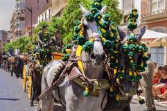 MALAGA, ESPANHA - AGOSTO, 14: Cavaleiro e transportes no Malaga Imagens de Stock
