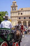 MALAGA, ESPANHA - AGOSTO, 14: Cavaleiro e transportes no Malaga Foto de Stock