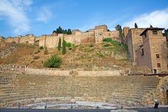 Malaga - fördärvar av Rome amfiteater (Anfiteatro de Malaga) Arkivbilder
