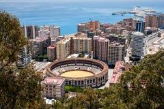 Malaga hamnpanoramautsikt, Spanien royaltyfri fotografi