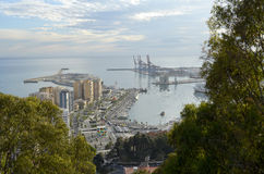 Malaga harbour (Spain). General view of the harbour of Malaga (Spain Stock Photos