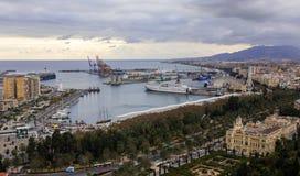 Malaga, het beeld van het havenlandschap van de hoogte royalty-vrije stock foto