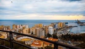 Malaga, het beeld van het havenlandschap van de hoogte stock foto