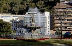 Malaga Hiszpania fontanna Trzy graci Zdjęcia Stock