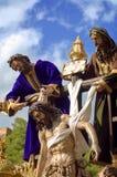 MALAGA HISZPANIA, KWIECIEŃ, - 09: tradycyjni korowody Święty tydzień ja Zdjęcie Stock