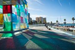 MALAGA HISZPANIA, STYCZEŃ, - 01, 2018: Pompidou centre w Malaga, zdrój Fotografia Stock