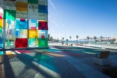 MALAGA HISZPANIA, STYCZEŃ, - 01, 2018: Pompidou centre w Malaga, zdrój Obrazy Stock