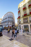 MALAGA - JUNE 12: City street view with cafeteria terraces and s Stock Image