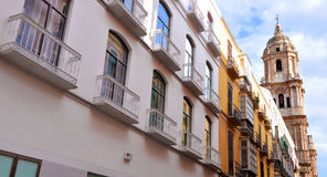MALAGA - JUNE 12: City street view with cafeteria terraces and s Royalty Free Stock Photography
