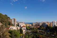 Malaga. Malaga landscape. Panoramic view. Malaga, Costa del Sol, Andalusia, Spain. Picture taken – 17 december 2017 Royalty Free Stock Images