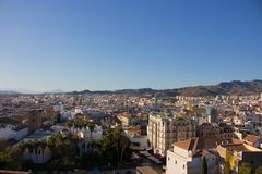 Malaga. Malaga landscape. Panoramic view. Malaga, Costa del Sol, Andalusia, Spain. Picture taken – 17 december 2017 Royalty Free Stock Photos