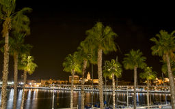Malaga Marina at Night Royalty Free Stock Photo