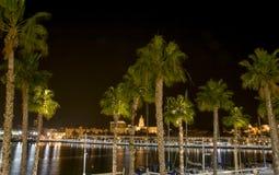 Malaga marina på natten Royaltyfri Foto