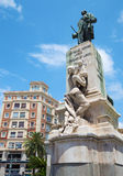 Malaga - The memorial of Manuel Domingo Larios y Larios (1836-1895) created by Mariano Benlliure (1899). MALAGA, SPAIN - MAY 25, 2015: The memorial of Manuel stock image