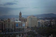 Malaga miasta widok przy nocą Zdjęcie Stock
