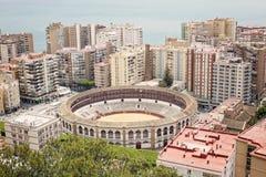 Malaga miasta widok z morzem i coloseo Zdjęcia Stock