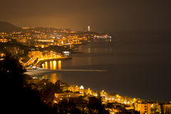 Malaga by night. View of the coast and the port of Malaga, the view from the castle Gibralfaro Royalty Free Stock Photos