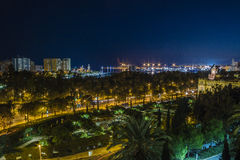 Malaga night. Málaga is a port city on southern Spain's Costa del Sol, known for its high-rise hotels and resorts jutting up from yellow-sand beaches stock images