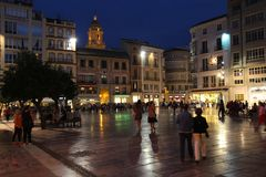 Malaga night Royalty Free Stock Images