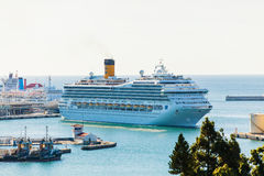 MALAGA - NOVEMBER 15, 2014: Costa Fortuna cruise ship docking at port of malaga in November 15th, 2014. Stock Photos